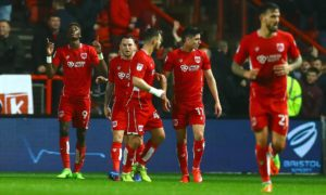 Tammy Abraham of Bristol City celebrates scoring a goal to make the score 2-0 during the Sky Bet Championship match between Bristol City and Huddersfield Town played at Ashton Gate, Bristol on 17th March 2017